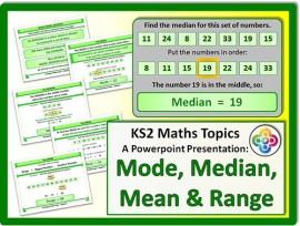Mode, Median, Mean and Range for KS2
